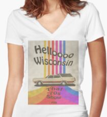 Hello Wisconsin Fitted V-Neck T-Shirt