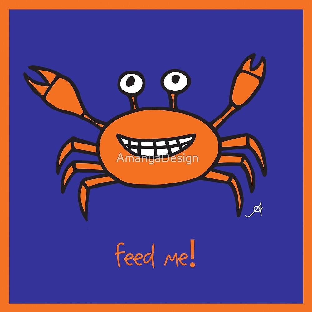 Mr and Mrs Crabby Amanya Design Blue Single FEED ME! in Orange by AmanyaDesign