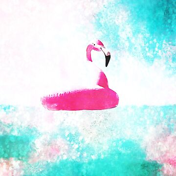 Pink Teal Blue Summer Abstract Swimming Flamingo by Blkstrawberry