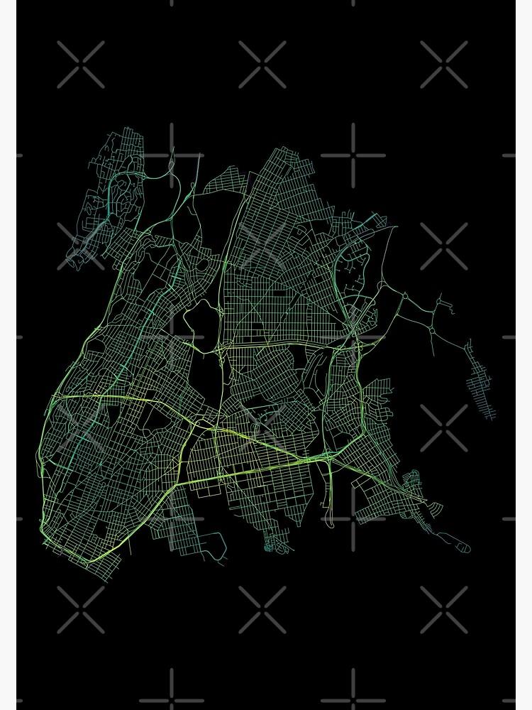 Bronx, New York City, USA Colored Street Network Map Graphic by ramiro