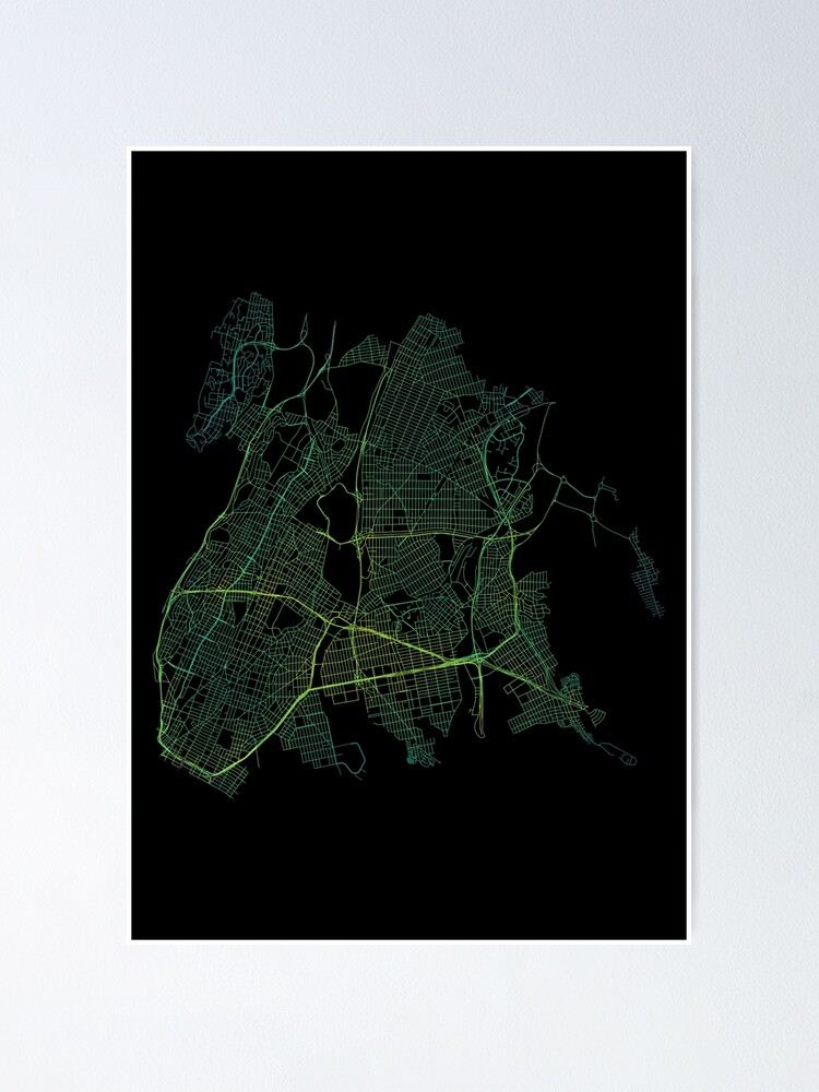 Alternate view of Bronx, New York City, USA Colored Street Network Map Graphic Poster