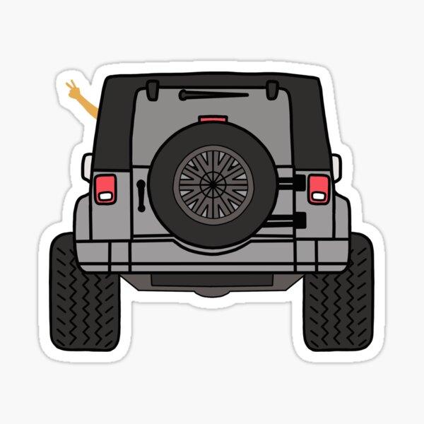 Jeep Wave Back View - Gray (Grey) Jeep Sticker