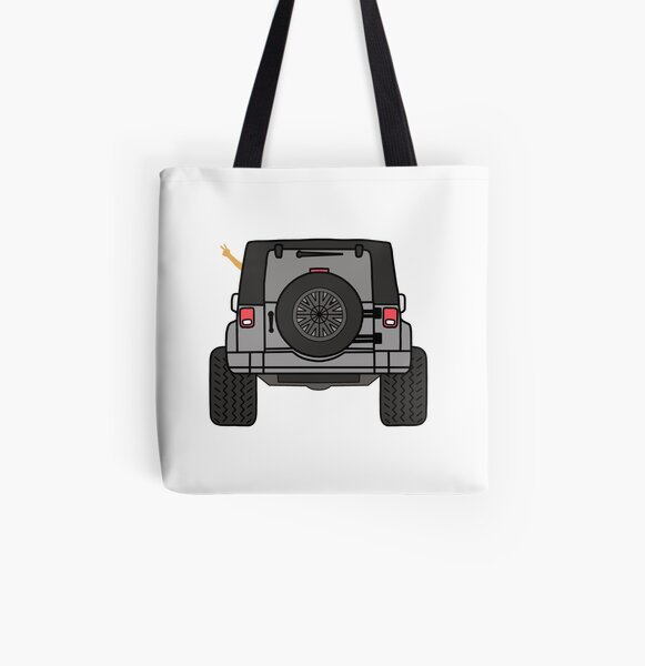 Jeep Wave Back View - Gray (Grey) Jeep All Over Print Tote Bag