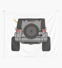 Jeep Wave Back View - Gray (Grey) Jeep Wall Tapestry