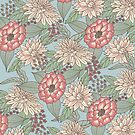 Vintage Pink Ivory Cream Hand Drawn Flowers by Blkstrawberry