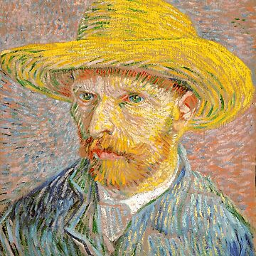 Self-Portrait with a Straw Hat - Vincent Van Gogh by maryedenoa