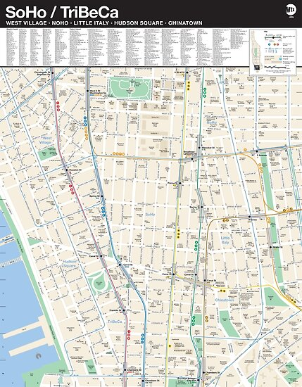 Noho Nyc Map.New York City Soho Tribeca Map Hd Posters By Superfunky