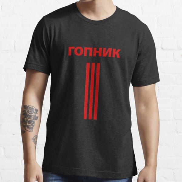 го́пник (Gopnik) Squatting Slav Meme 3 Stripes [RED] Essential T-Shirt