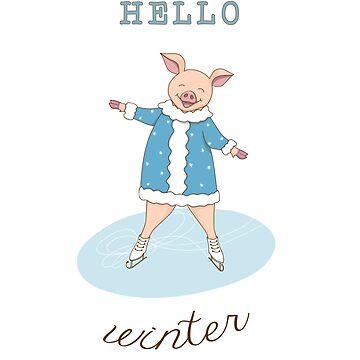 hello winter with cute piggy  by AlinNova