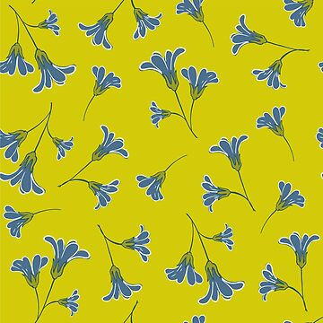 Colourful Yellow-Blue-floral Pattern by broadmeadow