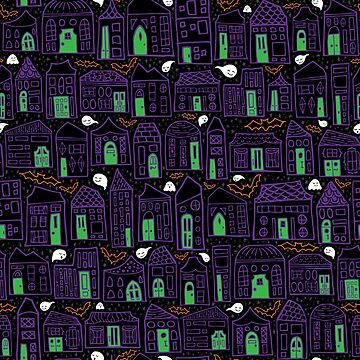 Happy Halloween in the City // Quirky Haunted House Neighborhood with Bats + Ghosts in Purple, Black, and Orange by ZirkusDesign