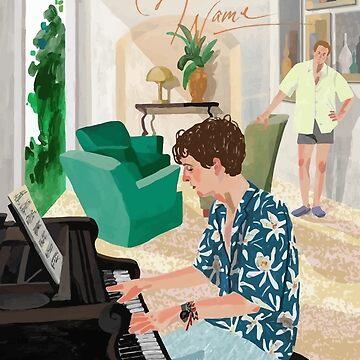 Llámame por tu nombre Dibujo - Elio tocando el piano de franciscouto