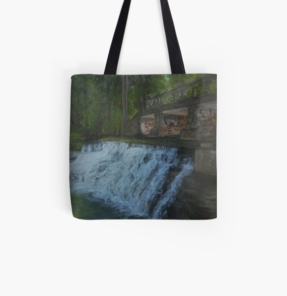 Papermill Falls by Laura Jaen All Over Print Tote Bag