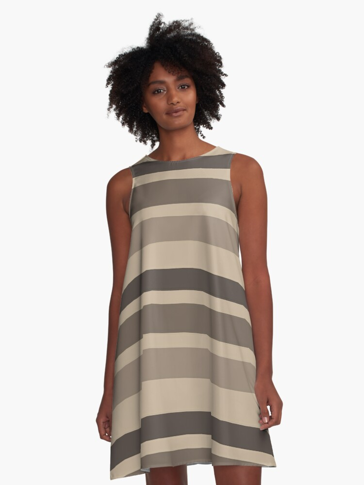 brown stripped dress A-Line Dress Front