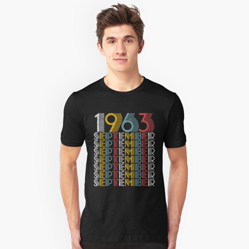 Vintage September 1963 Birthday Gifts Unisex T-Shirt Front