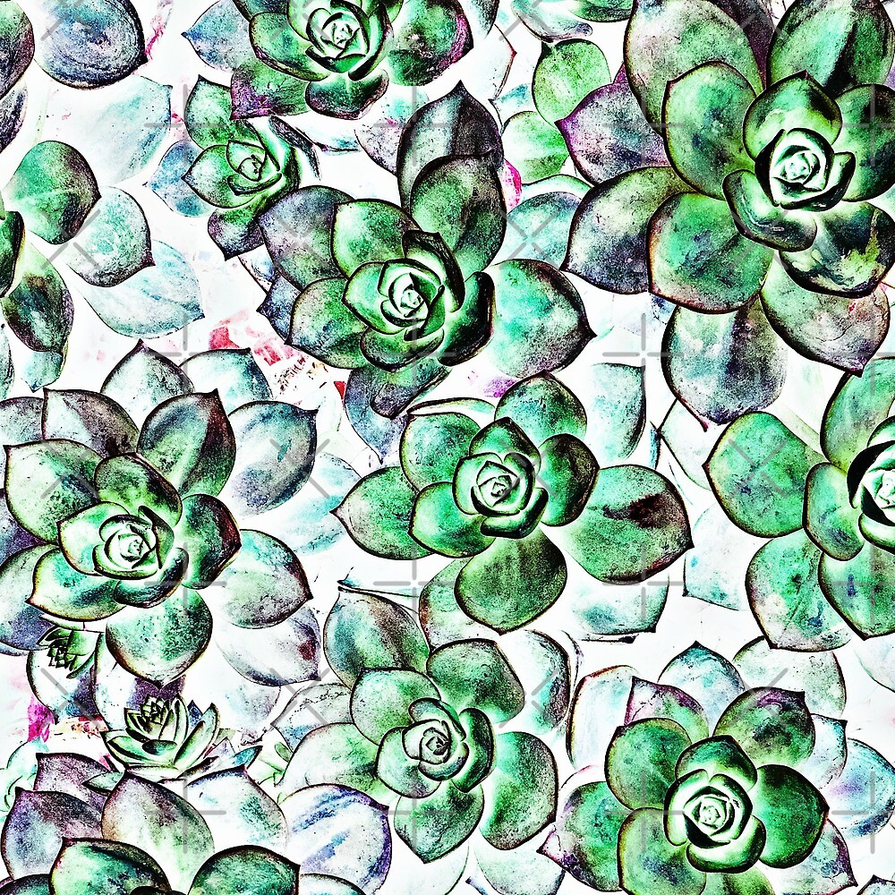 Watercolor succulents  by NeverNanashi