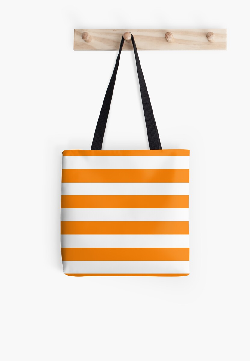 Orange and White Horizontal Thick Stripe by The Waypharers