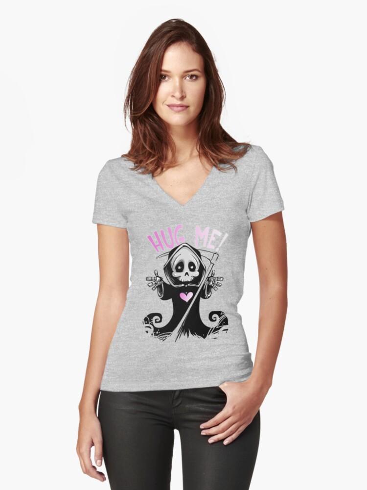 Hug Me!! Women's Fitted V-Neck T-Shirt Front