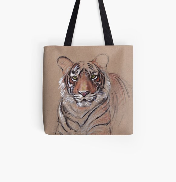 UNFINISHED BUSINESS - Original Tiger Drawing - Mixed Media (acrylic paint & pencil) All Over Print Tote Bag