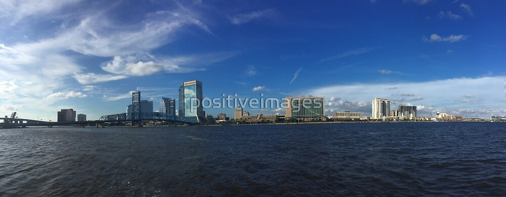 Panoramic of the St. Johns River in Jacksonville, Florida by positiveimages
