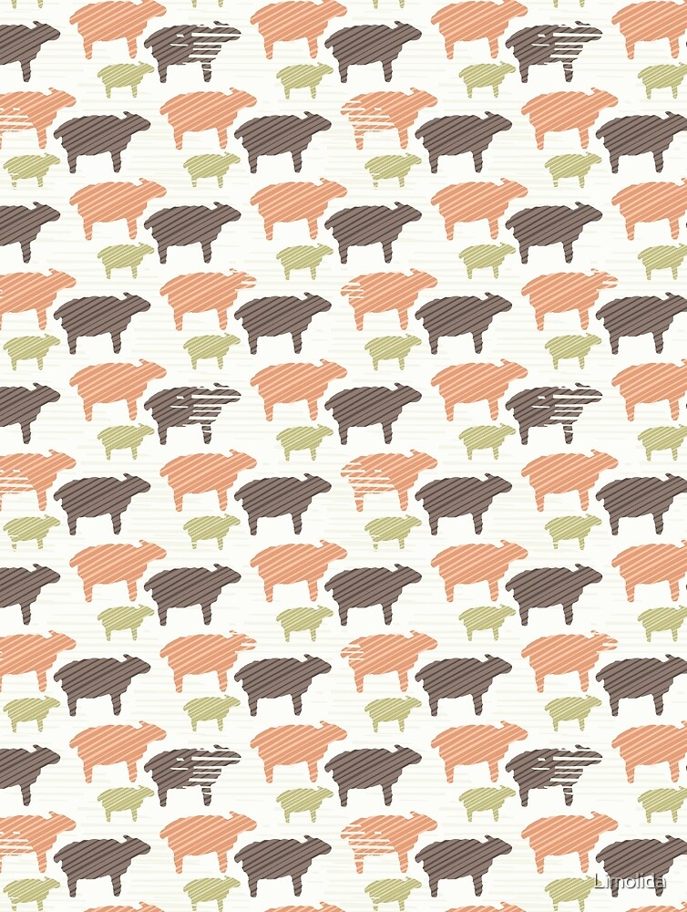 Pink Brown and Green Natural Color Sheep by Limolida