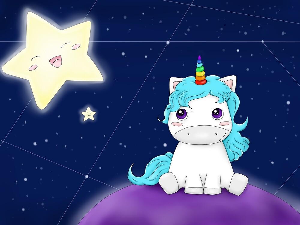 Cute Cartoon Starry Night Unicorn World by Bubble-Designs