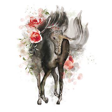 Unicorn in Blood Rose by ScrivK