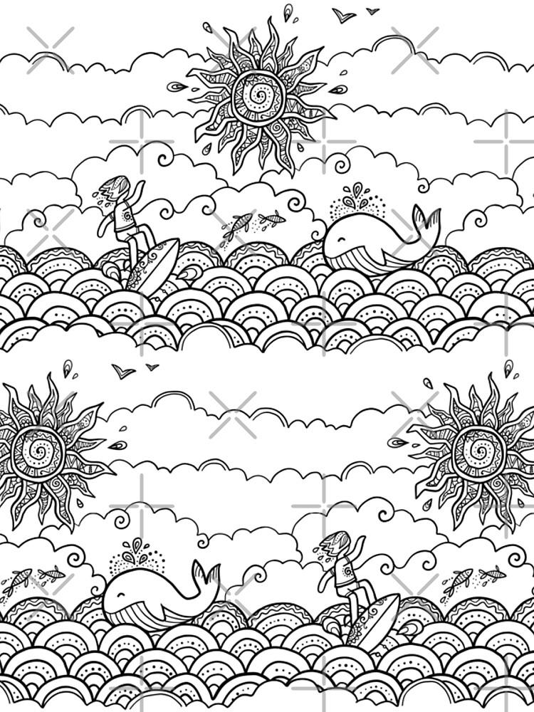 Surfer, whale, ornate sun and ocean doodle illustration by 1enchik