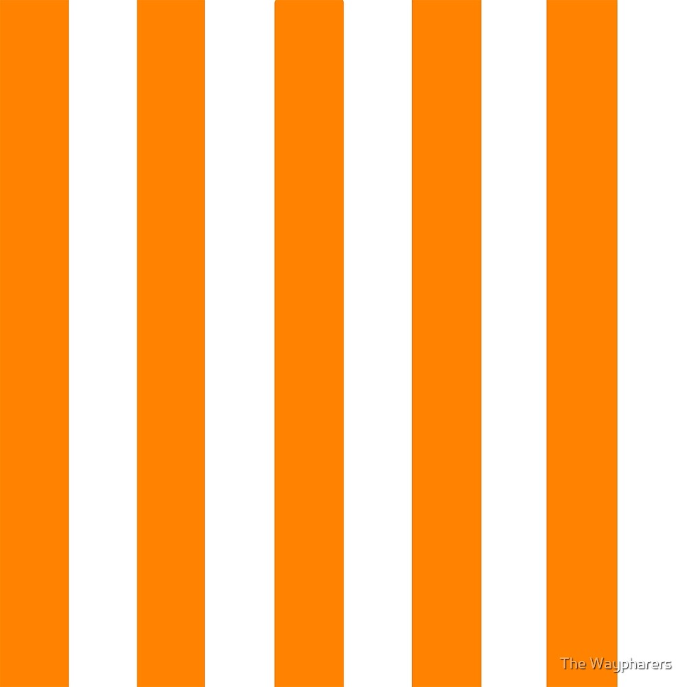Orange and White Vertical Thick Stripe by The Waypharers