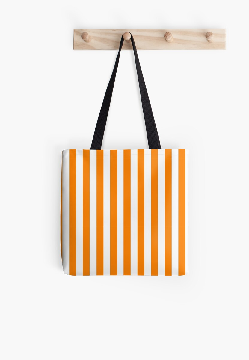 Orange and White Vertical Thin Stripe by The Waypharers
