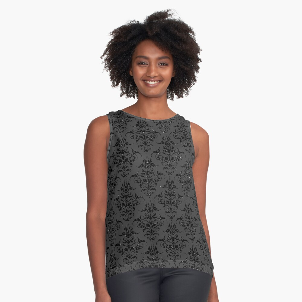 Black On Black Gothic Glitter Look With Floral Filigree Pattern Contrast Tank Front