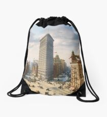 Flat Iron in New York City, ca 1903 colorized Drawstring Bag