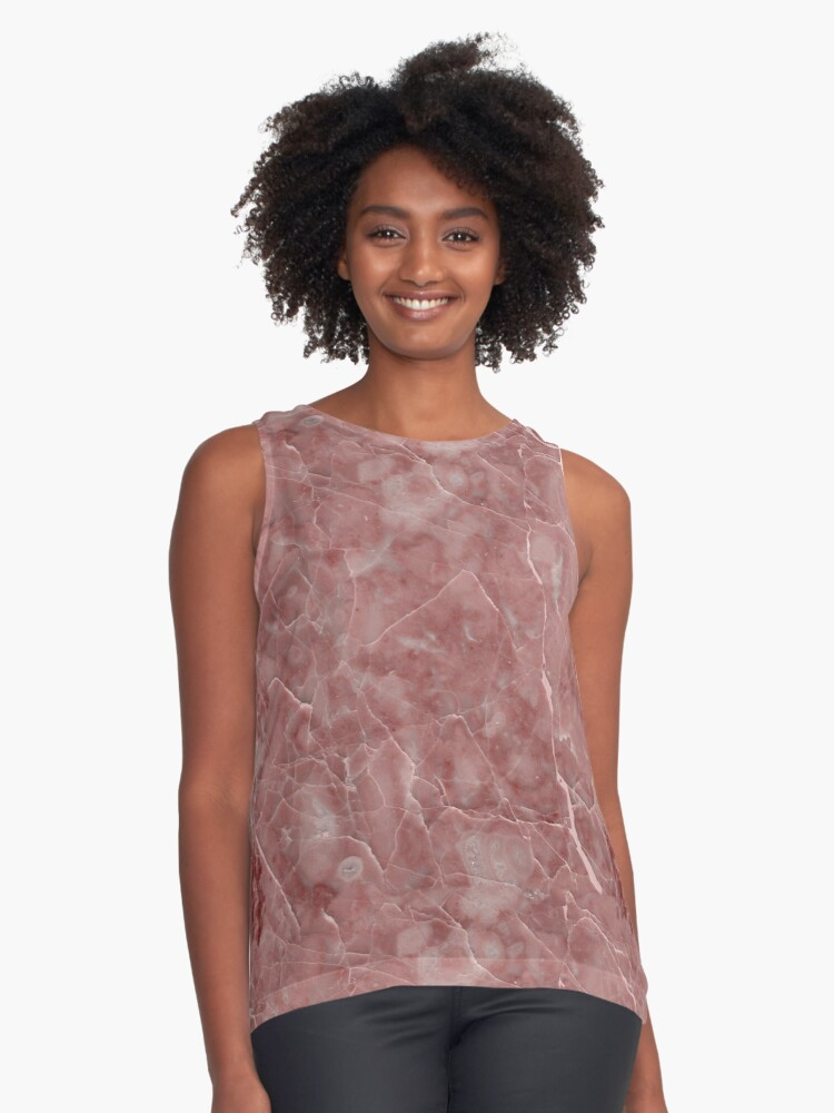 Maura Rosso Dark Rust Red Marble Pattern Contrast Tank Front
