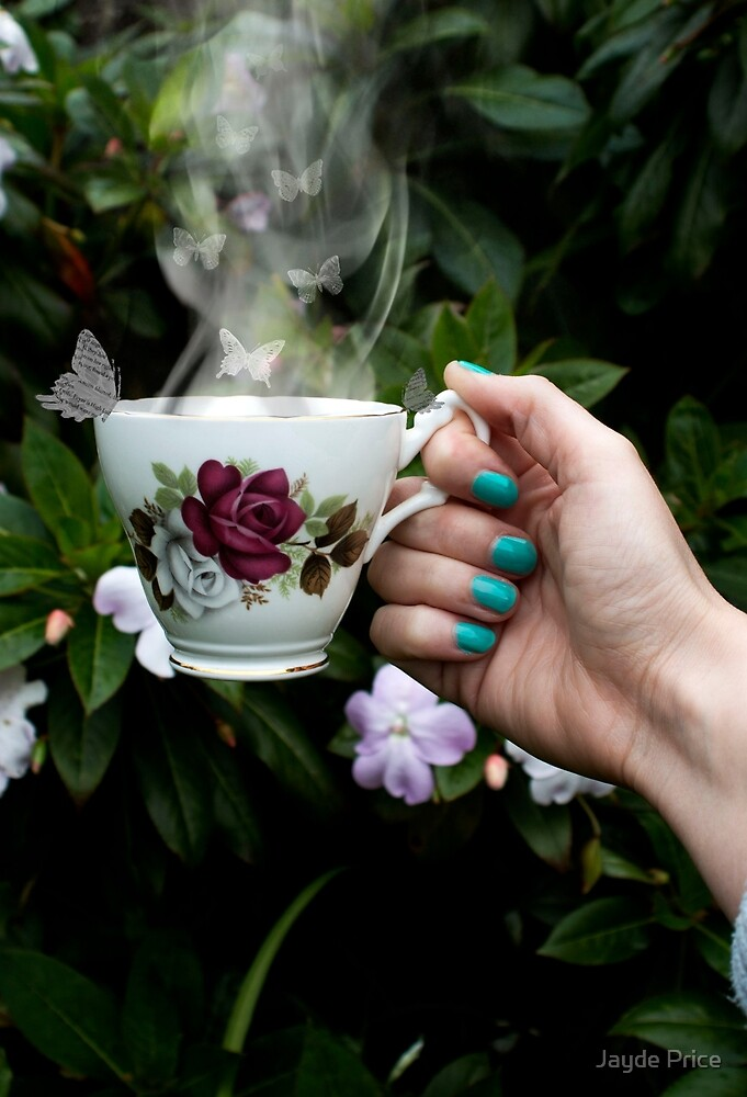 Butterflies + tea cup by Jayde Price