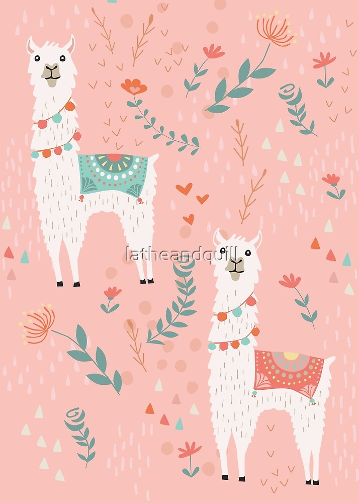 Lovely Llama on Pink  by latheandquill