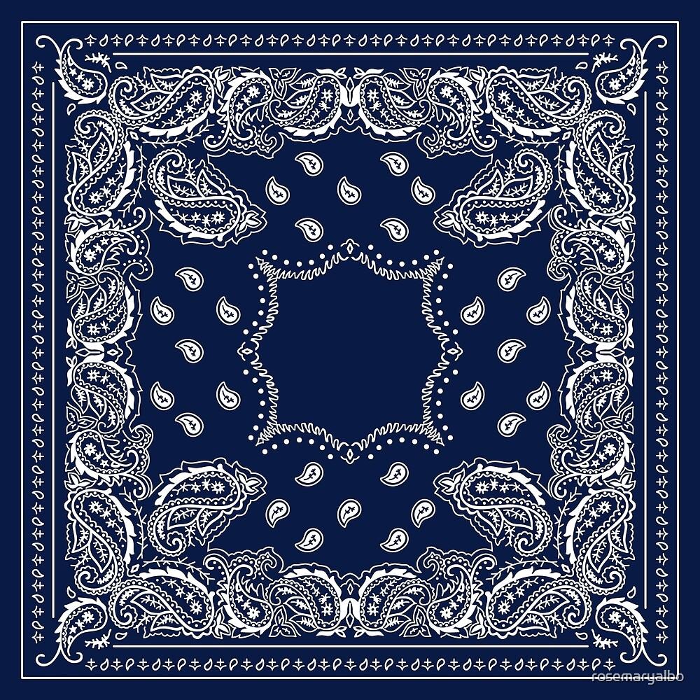 Bandana Bandana Blue -  Navy Blue  by rosemaryalbo