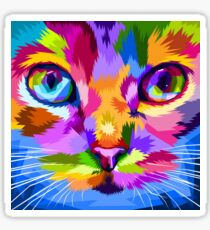 Cool Colorful Artsy Cat Face Sticker