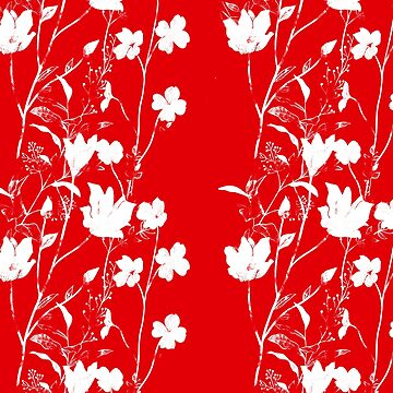 Brilliant Red with White Flowers by Greenbaby