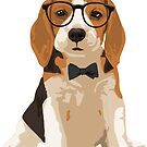 Cute Hipster Beagle Puppy Dog Sticker for Dog Lovers by haidishabrina