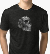 Spiked Skull Black & White Tri-blend T-Shirt