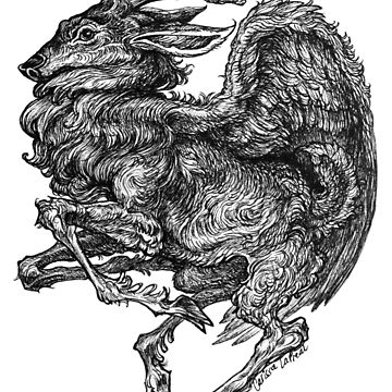 Winged Deer Sprite - Ink Drawing by carissalapreal