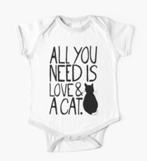 All You Need Is Love and A Cat One Piece - Short Sleeve