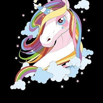 Pretty Pastel Rainbow Colors Unicorn Stars T-shirt by chihai