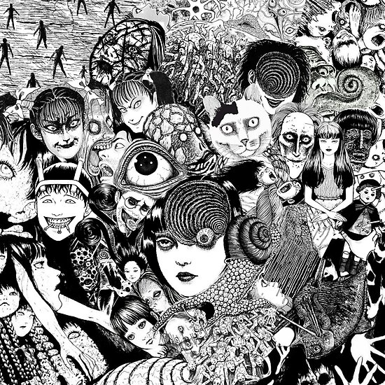 Quot Junji Ito Collage Quot Poster By Dottorealice Redbubble
