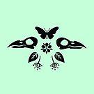 Crow Skulls und Schmetterlinge - Pastell Teal von Johanna-Draws