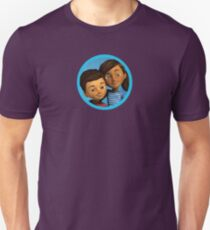 Caleb and Sophia (round blue frame) Unisex T-Shirt