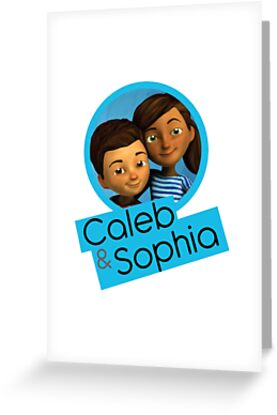 caleb and sophia circle blue greeting cards by jw stuff redbubble