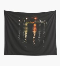 River ferry and lights reflections Wall Tapestry