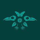Crow Skulls und Schmetterlinge - Teal von Johanna-Draws