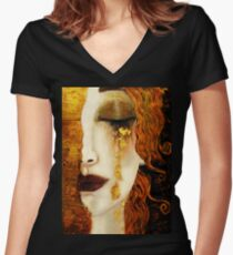Klimt Golden Tears Women's Fitted V-Neck T-Shirt